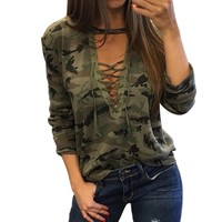 Lace Up Cotton Shirt Sexy Deep V Womens Causal Blouses 2018 Summer Tops Long Sleeve Army Camouflage Ladies Tee Shirts Femme