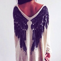 Slouchy Angel Wings Loose Sweater