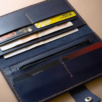Long leather wallet for men with coin pocket (coat wallet from full grain vegetable tanned leather)