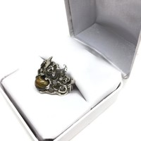 Modern Brutalist Sterling Silver Angel Ring with Tigers Eye Signed TAXCO MEXICO MATEO Size 7, Mens Pinky Ring, Biker Jewelry,