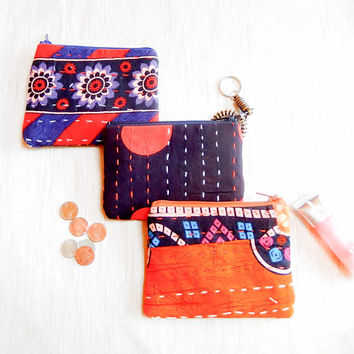 Gift for Women/ Kantha Gift for Her/ Bridesmaid Gift/ Make Up Bag/ Gift for Mom/ Christmas Gift/ Coworker Gift/ BFF Gift/ Girlfriend Gift