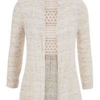 lightweight cardigan with lace back in heathered fabric