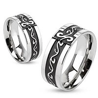 Tribal Meets Tuxedo - FINAL SALE Black oxidized stainless steel center band with silver tribal scrollwork design couples ring