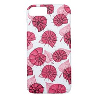 Pink Snails And Leaves Nature Lover Pattern iPhone 8/7 Case