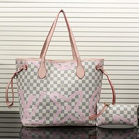Louis Vuitton LV Leather Fashion Zebra Print Crossbody Shoulder Bag Handbag Satchel Set Two Piece