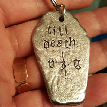 Coffin Keychain, Pewter Coffin, Goth Anniversary, Anniversary gift, Girlfriend gift, Till death Coffin keychain