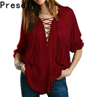 Preself NEW WOMEN LACE UP DEEP V NECK POCKET CASUAL LOOSE BLOUSE SHIRT TOPS