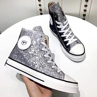 Converse new women's sequined high canvas shoes