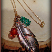 FEATHER NECKLACE boho ~ crystal bead, gold, turquoise, rusty red, minimalist, simple, trendy, stocking stuffer, gift for women