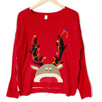 Lightweight Hi-Lo Peeping Rudolph Tacky Ugly Christmas Sweater
