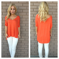 Orange V-Neck Basic Modal Top