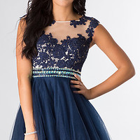 Short Sleeveless Prom Dress by Dave and Johnny