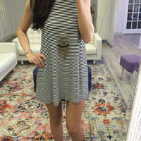 Made You Look Black & White Striped Knit Tunic Dress