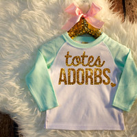 Totes Adorbs Shirt Mint & Gold Baby Shower Gift Bodysuit Baby Girl Clothes Baby Girl Shirt Hipster Baby Clothes Baby Gift Mint And Gold #14
