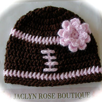SALE crochet baby beanie FOOTBALL hat premie newborn 0-3 month infant - white pink or blue boy or girl photography photo prop