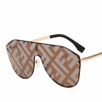 Fendi new female personality one-piece double F watermark wild color film sunglasses #3