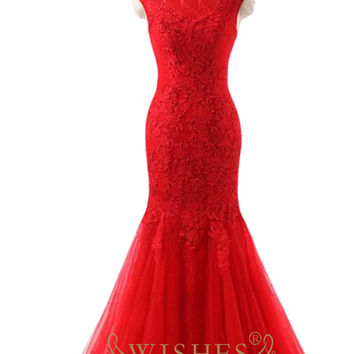 Scoop Neckline Mermaid Red Prom Dress Am554