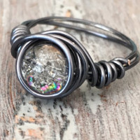 Hematite Wire Ring, Crystal Ring, Wire Wrapped Ring, Black Ring, Wire Ring, Mystic Crystal Ring