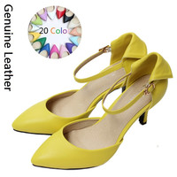 2016 Size 34-41 Fashion Genuine Leather Sexy Women Sandals High Heels Ladies Pumps Shoes Woman Summer Style Chaussure Femme