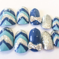 Chevron Fake Nails Blue Acrylic Nails Glitter False Nails