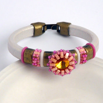 Beaded leather bracelet, white rose leather bracelet with beadwork button, brass spacers, Oh rings, white leather