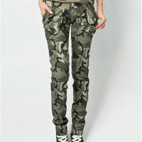 ONSALE Women's Army Cargo Pants Camouflage Caogo Pant Military Green Color Pencil Pants Camouflage Skinny Jeans For Women