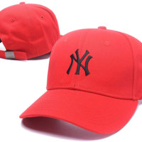 Red NY Embroidered Baseball Cap Hat