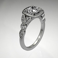 14k white gold diamond engagement by EternityCollection on Etsy