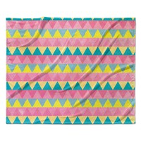 "Louise Machado ""Triangles"" Yellow Pink Fleece Throw Blanket"