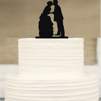 Silhouette Wedding Cake Topper,Bride and groom Cake Topper, Funny Cake topper, initial Cake Topper,Unique Wedding Cake Topper,Cake Decor