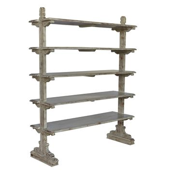 Bengal Manor Mango Wood 5 Tier Aged Ash Open Bookshelf By Crestview Collection Cvfnr357