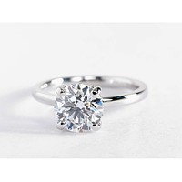 A Perfect 3.1CT Round Cut Solitaire Russian Lab Diamond Ring