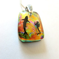 Shark and Scuba Diver - Dichroic Glass Necklace with Sterling Silver Chain