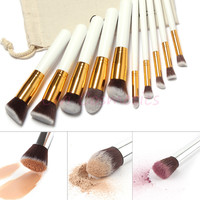 10 Piece Professional Soft Makeup Brush Set