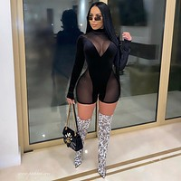 fhotwinter19 Women's hot selling hot sexy see-through stitching mesh long-sleeved jumpsuit