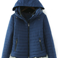 Blue Long Sleeve Quilted Zipper Pockets Coat