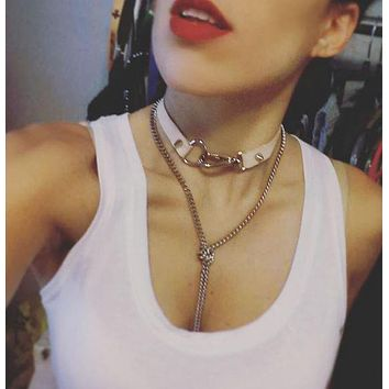 2 Way Luxe Leather Choker Necklace with Silver Hardware and Spike Rivets