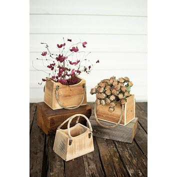 Set Of 3 Rustic Recycled Wood Hand Bag Planters