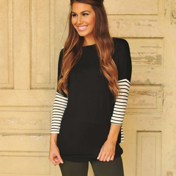 Striped Long Sleeve Knit T-Shirt