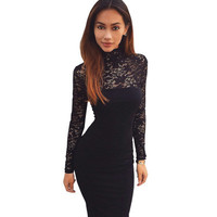 2017 Trending Fashion Lace Sexy Slim High Collar Neck Long Sleeve Erotic One Piece Dress _ 11331