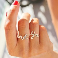 """CIShop Set of 2pcs Romantic Handmade """"LOVE YOU"""" Stack Plain Above Knuckle Rings Mid Finger Rings"""