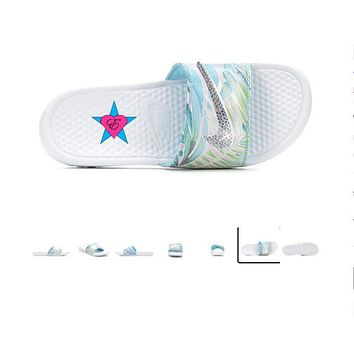 Tropical Women's Nike Benassi JDI Print Sport Slides Blue