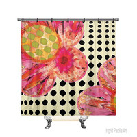 Bloom, Polka dot, Custom, Shower Curtain, Floral, Pink Flowers, Printed Fabric, Bath Decor, Home Decor, Funky, Art, by Ingrid Padilla