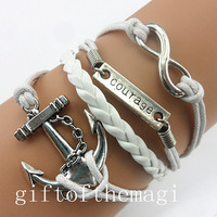 anchor courage, &infinity karma Charm Bracelet Antique silver-- wax cords braid Leather bracelet--the best friendship gift 808
