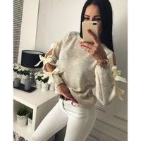 hirigin Women Autumn Long Sleeve O-neck Bow hollow-out Pullover Sweater Ladies Casual Kintting Solid Sweet Jumper Tops