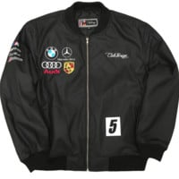 Club Foreign PU Leather Racing Jacket In Black