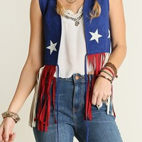 Seriously incredible 70's vintage inspired, red/white/blue American Flag faux suede vest. American flag 70's items are coveted everywhere, particularly with this 70's iconic design! Featuring sleeveless with super long fringe,white color big stars design a
