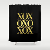 XO Black Gold Shower Curtain by Edit Voros