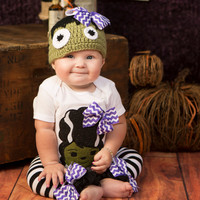 Baby girls Chevron frankenstein bodysuit with m2m Hat and Leg Warmers-GIRLS HALLOWEEN OUTFIT-Girls Halloween Costume