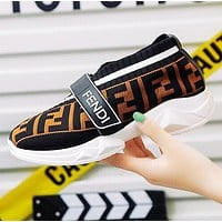 FENDI Hot Sale Women Breathable Knit Running Sport Shoes Sneakers Black&Coffee